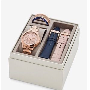 Michael Kors Rose Gold-Tone & Leather Strap Set